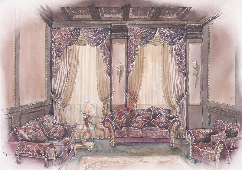 Эскизы штор для гостиной