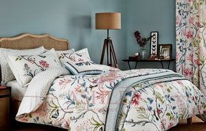 Clementine-Bedding-in-Pink-and-Duck-Egg Ткани Sanderson Постельное белье Sanderson Постельное белье Англия